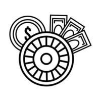 casino de la ruleta con monedas y billetes vector