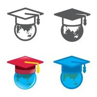 degree cap designed icons set. Vector illustration.