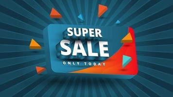 Super sale banner in pop blue background Sales promotion background vector illustration