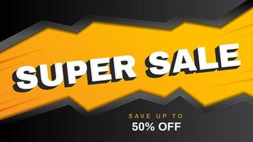 Super sale banner background save 50 off Sales promo with abstract vector shape