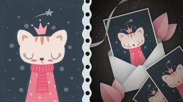 Nice princess cat idea for greeting card vector
