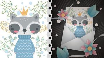 Princess cute raccoon idea for greeting card vector