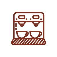 máquina dispensadora de café icono de estilo de línea de bebida vector