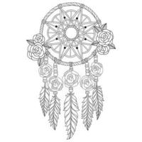 Dreamcatcher hand drawn for adult coloring book vector