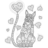 Cat in love hand drawn for adult coloring book vector