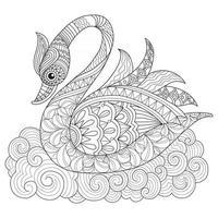 cisne dibujado a mano para libro de colorear para adultos vector