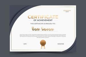 elegant dark gray certificate template design vector