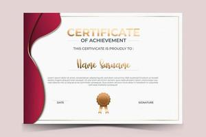 luxury certificate of appreciation award template with golden line and badge. vector