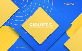 blue and yellow abstract geometric background. 3d banner vector illustration.