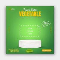 Healthy food vegetable social media post banner ads template. 3d illustration vector. vector