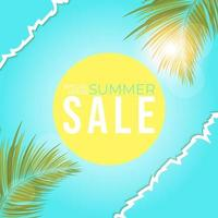 summer sale poster with leaves palm,  summer banner for promotion. vector