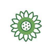 cute flower spring half color style icon vector