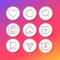 social media icons set love like comment share buttons vector
