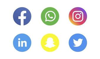 Social media Icons bundle Facebook Instagram Snapchat Twitter LinkedIn and other logo buttons vector