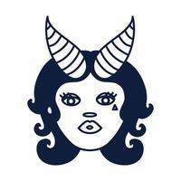 Bella mujer con signo del zodíaco Capricornio vector