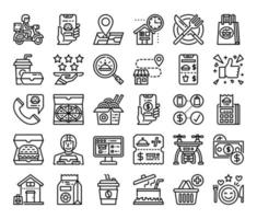 Food Delivery Outline Vector Icons