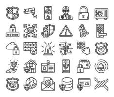 Security Outline Vector Icons