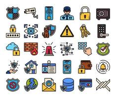 Security Color Outline Vector Icons