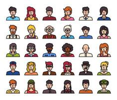 People Avatar Color Outline Vector Icons