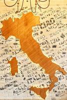 Mapa abstracto de Italia en un restaurante italiano foto