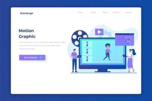 Motion graphic landing page illustration  concept vector