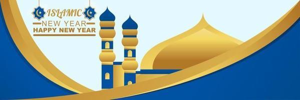 Happy Islamic New Year Design Holiday Banner Vector Illustration