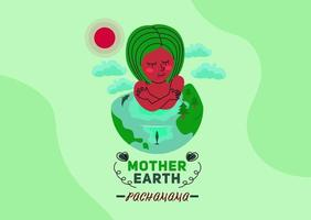 Pachamama Mother Earth Flat Vector Concept Design