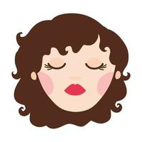 young woman head avatar character vector