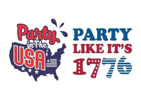 Party USA Cuttable Design. Set Of American Illustration-4Th Of July Celebration vector