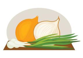Vector image of a ripe onion. Green onions. Onion in the cut.