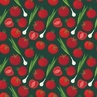 Background With A picture Of Vegetarian products. Vector seamless pattern with ripe tomatoes and green onions.