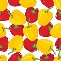 Vector seamless pattern with red and yellow paprika