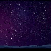 Starry purple sky landscape vector