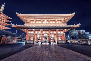 Senso-Ji pagoda and temple in the evening in Tokyo, Japan photo