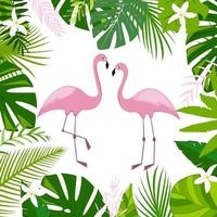 Pink flamingos green palm leaves jungle leaf composition and white flowers Beautiful floral summer tropical vector illustration isolated Exotic bird print