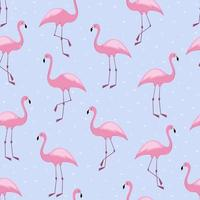 Flamingo seamless pattern with hearts Vector background design for fabric and decor