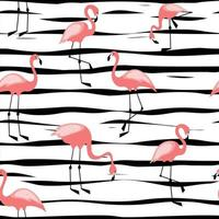 Flamingo seamless pattern on striped background Design for fabric and decor vector