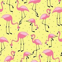 Pink flamingo in a crown seamless pattern on dot background Design for fabric and kids decor vector