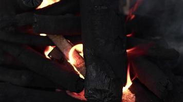 Barbecue Coal Fire Flames and Ashes video