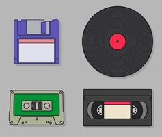 Outdated technologies in linear color style vector