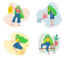 Spring girl in different actions vector