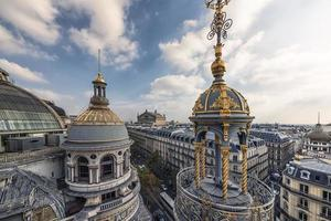 Paris city roofs at sunset photo