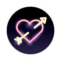 heart love with arrow neon light vector