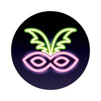 carnival mask neon light style icon vector