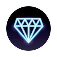 diamond stone neon light icon vector