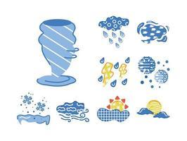 bundle of weather symbols set icons vector