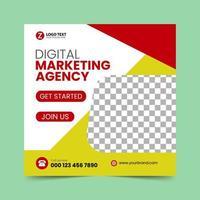 Red Social Media Post Design Template vector