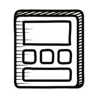 calculator math doodle line style icon vector
