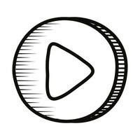 play button doodle line style icon vector