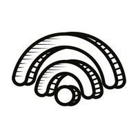 icono de estilo de línea de doodle de señal wifi vector